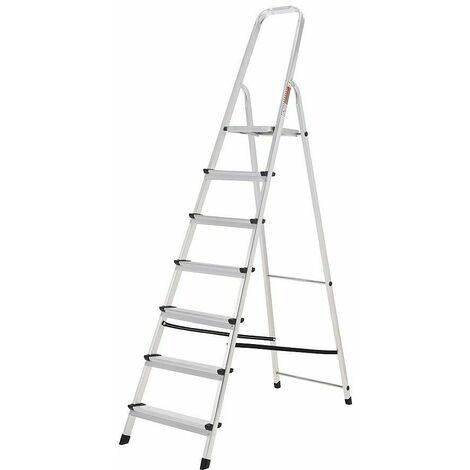Oryx Escalera Aluminio 7 Peldaños Plegable, Uso doméstico, Antideslizante, Ligera y Resistente
