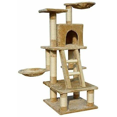 OSCAR - Albero tiragraffi per gatti con casetta 116cm - col. BEIGE Amico Gatto Cuccia Giochi