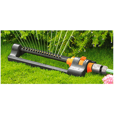 Oscilating Adjustable Garden Lawn Sprinkler With Sector Watering Selection On Slad Base - Black Line