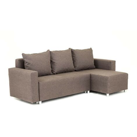 Oslo Corner Sofa Bed with Underneath Storage in Brown Linen Fabric - Left - color Brown