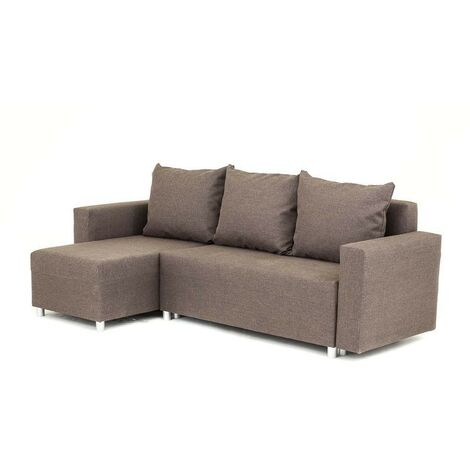 Oslo Corner Sofa Bed with Underneath Storage in Brown Linen Fabric - Right - color Brown