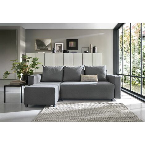 Oslo Corner Sofa Bed with Underneath Storage in Dark Grey Linen Fabric - Left - color Dark Grey