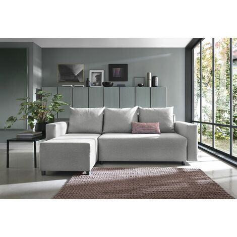 Oslo Corner Sofa Bed with Underneath Storage in Grey Linen Fabric - Left - color Grey