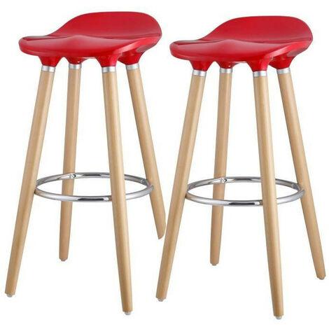 OSLO Lot de 2 tabourets de bar rouge laqué + pieds hetre massif - Contemporain - L 39 x P 40 cm