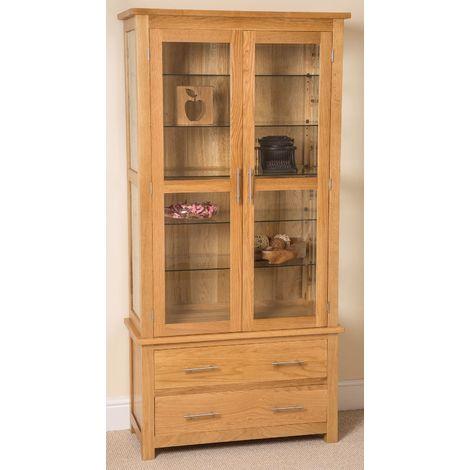 Oslo Solid Oak Glazed Display Cabinet