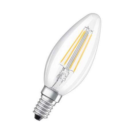 OSRAM Bombilla LED filamento, forma llama, Casquillo E14, 2W Equivalente 23W, 230 V, claro, blanco caliente 2700K, lote de 1 unidad