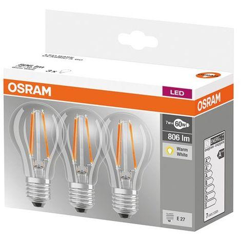 OSRAM - Led standard 7 W E27 blanc chaud - lot de 3