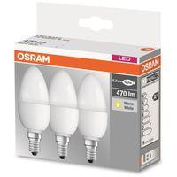 Osram Pack 3 Unidades Led Base Vela Mate 40 No Regulable 5,7W/827 E14
