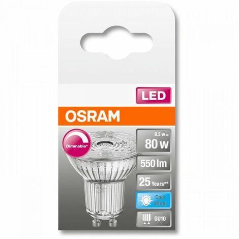 OSRAM Spot PAR16 LED 36° verre variable - 8,3W équivalent 80 GU10 - Blanc froid
