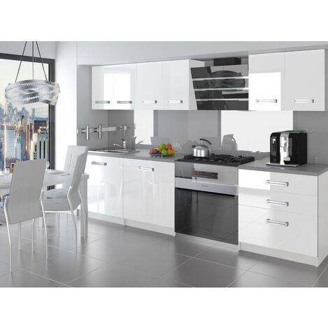 OTELLO | Cuisine Complète Modulaire + Linéaire L 180 cm 6 pcs | Plan de travail INCLUS | Ensemble meubles cuisine | Blanc - Blanc