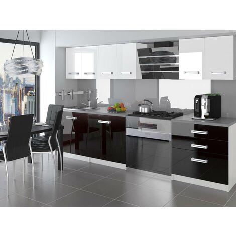 OTELLO | Cuisine Complète Modulaire + Linéaire L 180cm 6 pcs | Plan de travail INCLUS | Ensemble meubles cuisine - Blanc-Noir