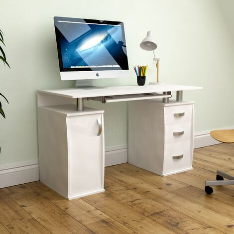 Otley 3 Drawer Computer Desk, White