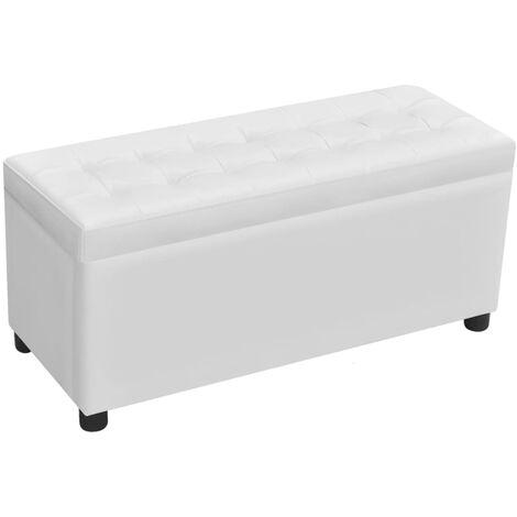 Otomana de almacenamiento de cuero artificial blanco