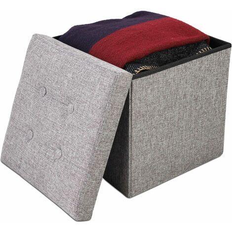 Otomana de Almacenamiento Plegable, Asiento del Reposapiés, 38 x 38 x 38 cm, Gris, Acabado con mechones de tela, Material: MDF, Tela no tejida