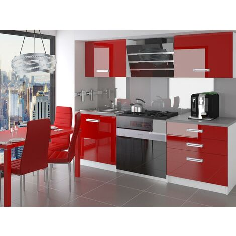 OTTAVA - Cuisine Complète Modulaire Linéaire L 120 cm 4 pcs - Plan de travail INCLUS - Ensemble armoires meubles cuisine - Rouge