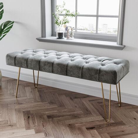 "main image of ""Ottoman Chair Stool Light Grey Footstool Velvet Bench Pouffe Chair"""