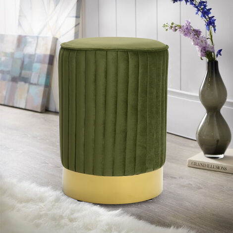 Ottoman Footstool Velvet Round Pouffe Stool Dressing Table Seat Chair Green