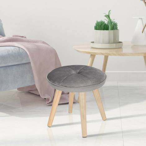 Ottoman stool in velvet with wooden legs, round light gray