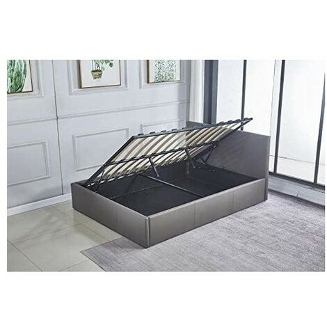 """main image of """"Ottoman Storage Bed Side Lift Opening Grey leather 3ft single bed (Grey, 3FT SINGLE)"""""""