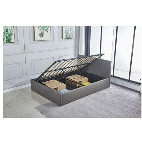 Ottoman Storage Bed Side Lift Opening grey leather double bed (Grey, 4ft6 DOUBLE)