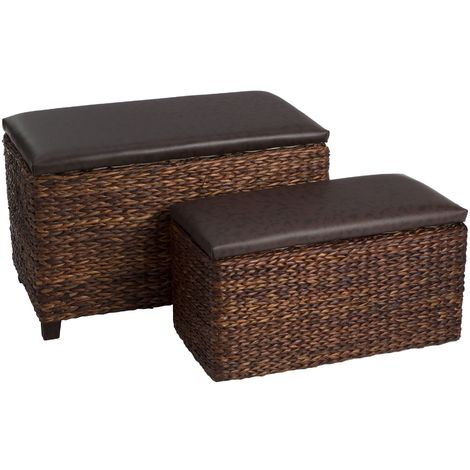 Ottoman storage, set of 2,cattail leaf/leather effect