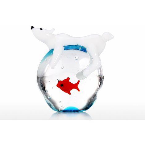 Ours polaire et poisson fait ala main Art animalier en verre souffle artisanat Animal sauvage Sculpture decoration de la maison