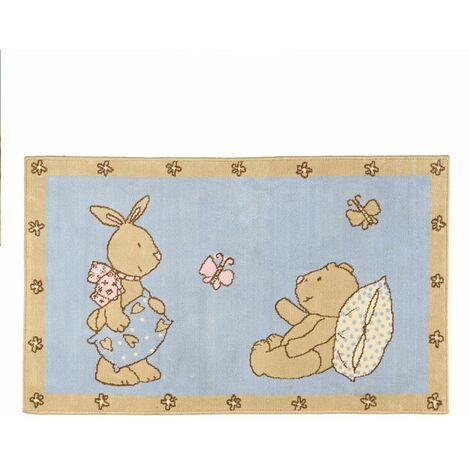 OURSON - <p>Tapis avec petit ourson et lapin bleu et beige 60x100</p> - Bleu