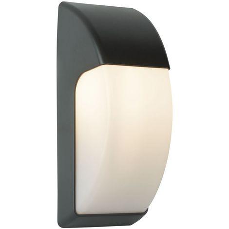 OUTDOOR 1 LIGHT CRESCENT WALL LIGHT (32CM) DARK GREY/OPAL