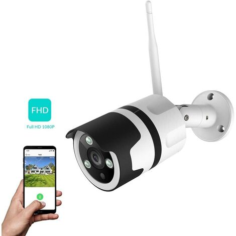 Outdoor 1080P FHD WiFi IP Surveillance Camera Compatible with Alexa, IP66 Dustproof IP Camera with Night Vision, Wi-Fi