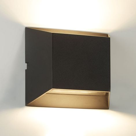 OUTDOOR 2 LIGHT LED WALL BRACKET, BLACK