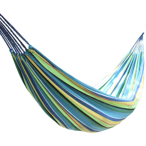 Outdoor 2 Person Canvas Hammock Garden Yard Beach Travel Camping Swing Hang Bed with Carry Bag 200x150cm