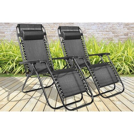 Outdoor 2PCS Adjustable Reclining Sun Lounger