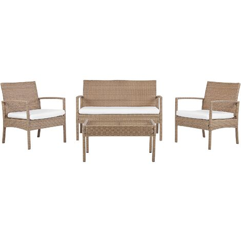 "main image of ""Outdoor 4 Piece Garden Sofa Conversation Set Faux Rattan Light Brown Marsala"""