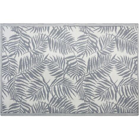 Outdoor Area Rug 120 x 180 cm Palm Leaf Pattern Dark Grey KOTA
