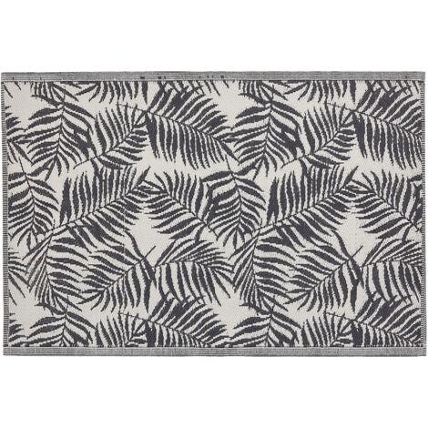 Outdoor Area Rug 120 x 180 cm Palm Leaf Pattern Black KOTA