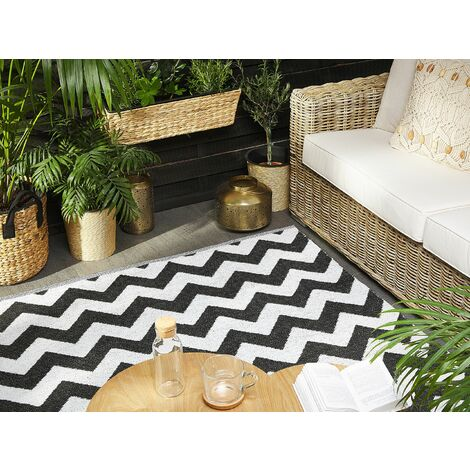 Outdoor Area Rug 140 x 200 cm Black and White HAKKARI