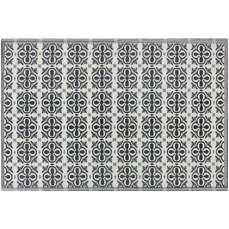Outdoor Area Rug 180 x 270 cm Black and White NELLUR