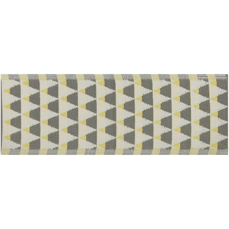 Outdoor Area Rug 60 x 105 cm Grey and Yellow HISAR