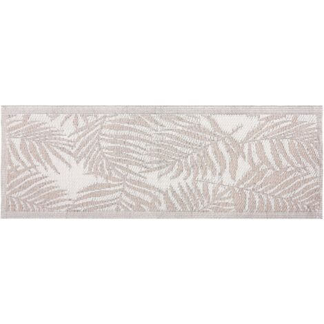 Outdoor Area Rug 60 x 105 cm Palm Leaf Pattern Beige KOTA