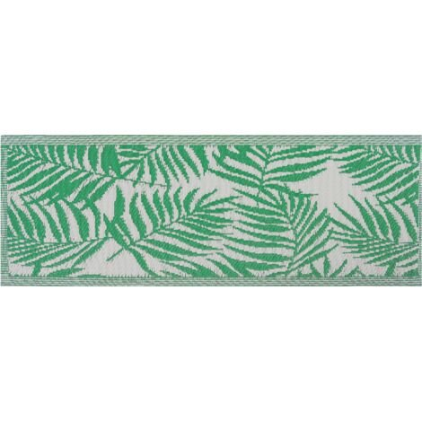 Outdoor Area Rug 60 x 105 cm Palm Leaf Pattern Green KOTA