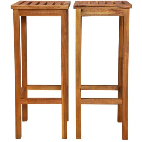 Outdoor Bar Chairs 2 pcs Solid Acacia Wood