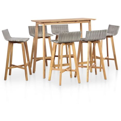 7 Piece Outdoor Dining Set Solid Acacia Wood