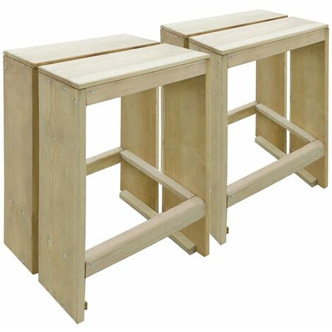 Outdoor Bar Stools 2 pcs Impregnated Pinewood