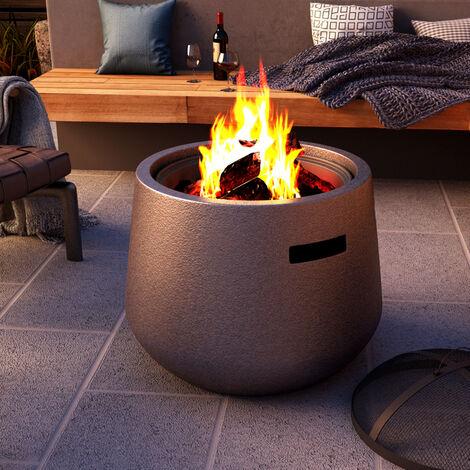 Outdoor BBQ Fire Pit Bowl Garden Firepit Grill Brazier Stove Heater w/ Poker&Lid , 55.5 x 55.5 x 41 cm