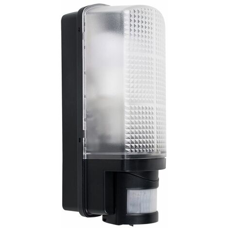 Outdoor Black Plastic IP44 Sensor Bulkhead Security Wall Light - Dusk Till Dawn - Black