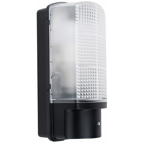 Outdoor Black Plastic IP44 Sensor Bulkhead Security Wall Light - Dusk Till Dawn - Black