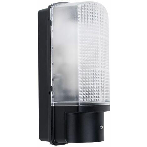 Outdoor Black Plastic IP44 Sensor Bulkhead Security Wall Light - PIR Sensor - Black
