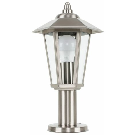 Outdoor Brushed Chrome Glass Post Top Lantern Wall Light Ip44 - Silver