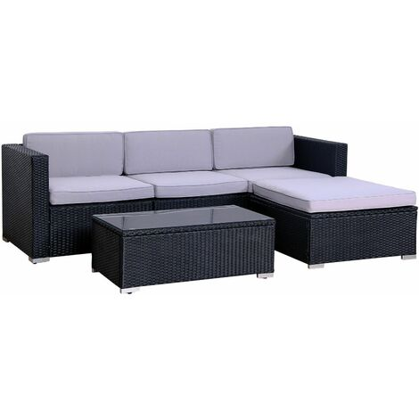Outdoor California Rattan Garden Furniture Set Modular Set Patio Sofa Black
