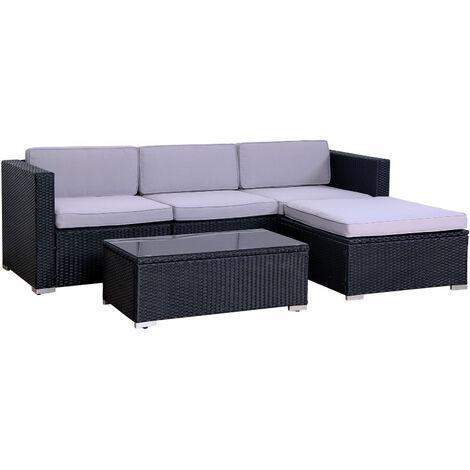 Outdoor California Rattan Garden Furniture Set Modular Set Patio Sofa Black - BLACK